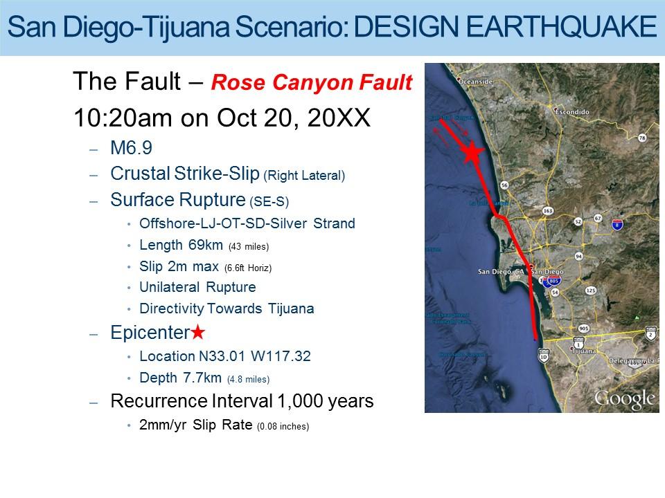 San Diego-Tijuana Earthquake Scenario Design Earthquake